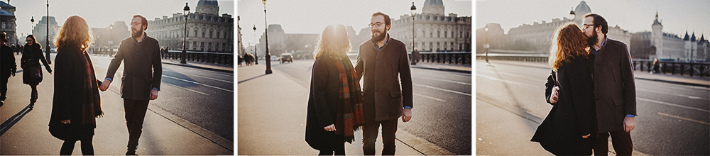 photos de couple intimes à Paris sous le soleil sur l'Ile Saint Louis